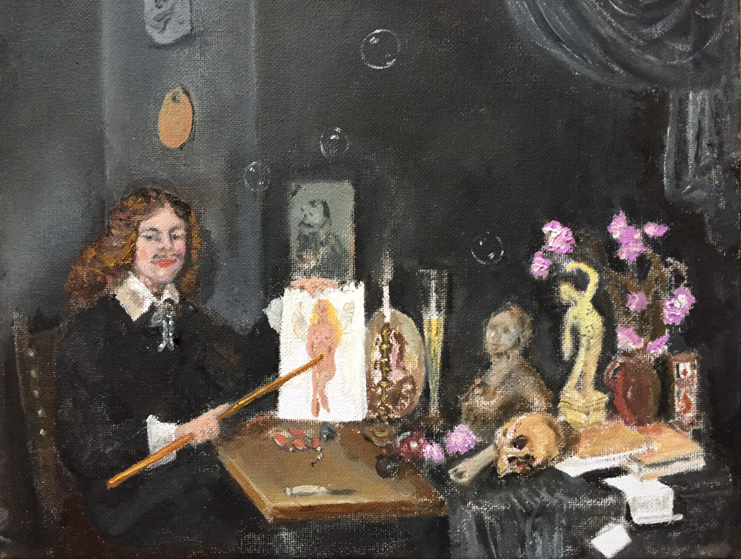 Zij Is Mijn Engel, based on David Bailly's Self-Portrait With Vanitas Symbols 1651